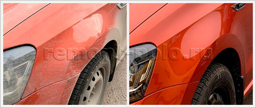 Покраска и замена переднего крыла VW Polo
