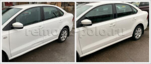 Ремонт и покраска дверей с левой стороны кузова VW Polo
