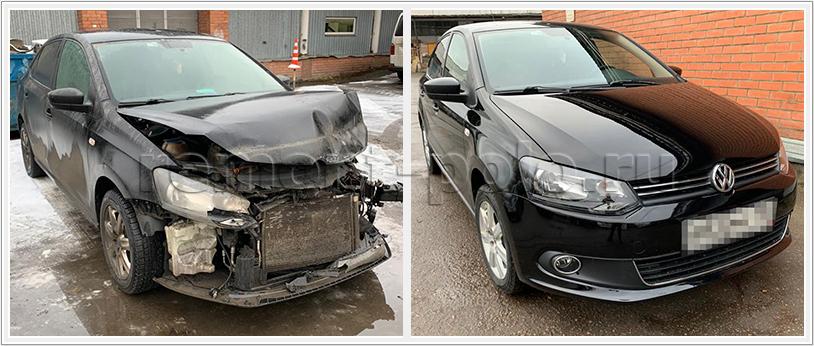 Ремонт VW Polo седан после лобового столкновения